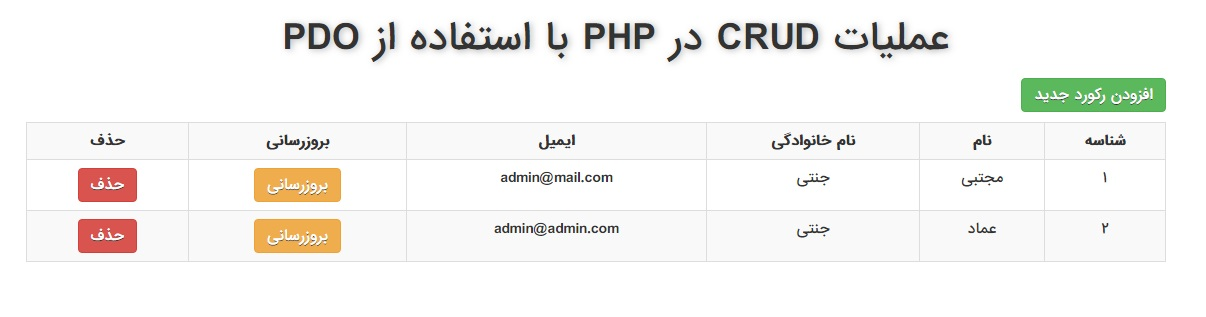 عملیات CRUD در PHP با استفاده از PDO