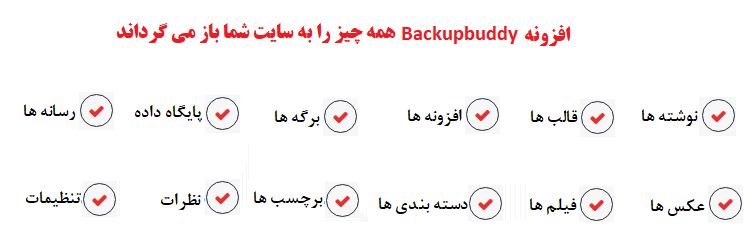 افزونه BackupBuddy از چه بخش هایی بکاپ می گیرد؟